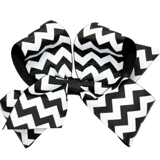 WEE ONES MEDIUM CHEVRON GROSGRAIN HAIR BOW