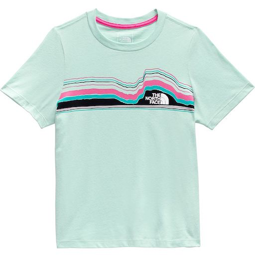 THE NORTH FACE GIRLS SHORT SLEEVE GRAPHIC TEE COASTAL GREEN