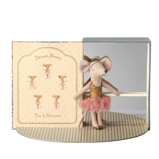 MAILEG DANCING ROOM WITH BIG SISTER MOUSE