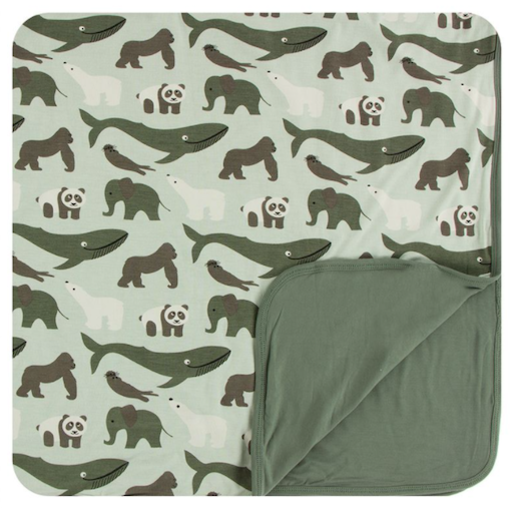 KICKEE PANTS PRINT TODDLER BLANKET IN ALOE ENDANGERED ANIMALS