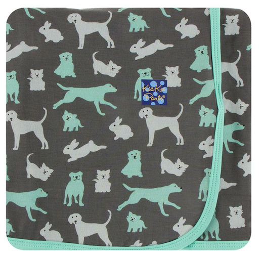 KICKEE PANTS KICKEE PANTS PRINT SWADDLING BLANKET IN STONE DOMESTIC ANIMALS