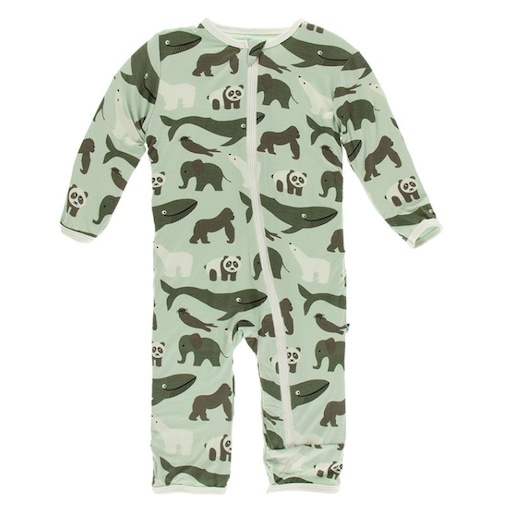 KICKEE PANTS PRINT COVERALL WITH ZIPPER IN ALOE ENDANGERED ANIMALS