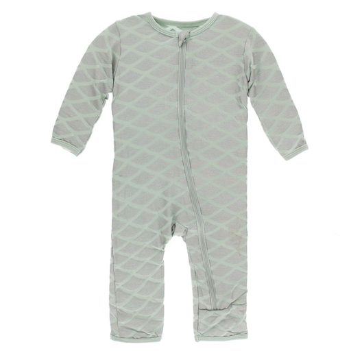 KICKEE PANTS PRINT COVERALL WITH ZIPPER IN IRIDESCENT MERMAID SCALE