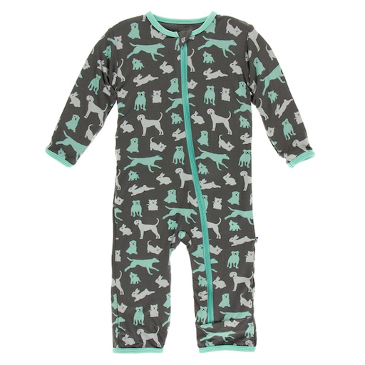 KICKEE PANTS PRINT COVERALL WITH ZIPPER IN STONE DOMESTIC ANIMALS