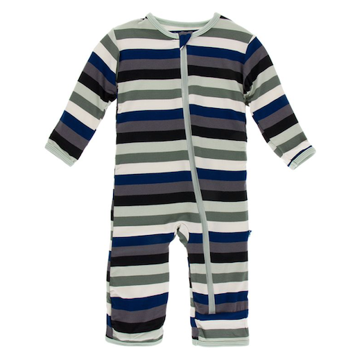 KICKEE PANTS PRINT COVERALL WITH ZIPPER IN ZOOLOGY STRIPE