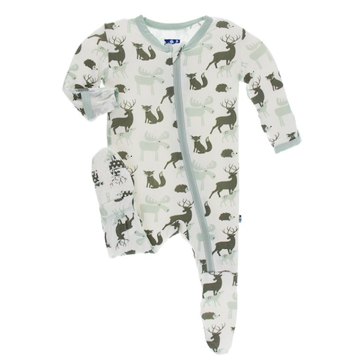 KICKEE PANTS PRINT FOOTIE WITH ZIPPER IN NATURAL FOREST ANIMALS