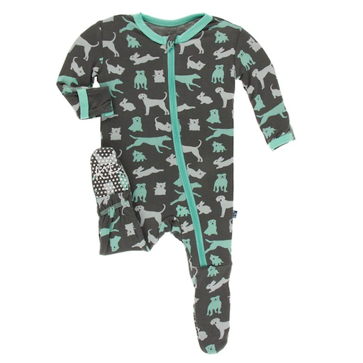 KICKEE PANTS PRINT FOOTIE WITH ZIPPER IN STONE DOMESTIC ANIMALS