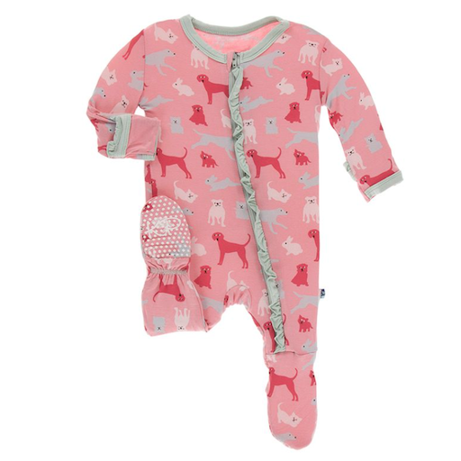 KICKEE PANTS PRINT CLASSIC RUFFLE FOOTIE IN STRAWBERRY DOMESTIC ANIMALS