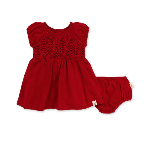 BURT'S BEES BABY CROCHET DRESS & DIAPER COVER SET