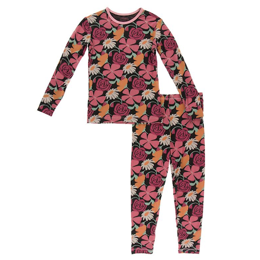 KICKEE PANTS PRINT LONG SLEEVE PAJAMA SET IN ZEBRA MARKET FLOWERS