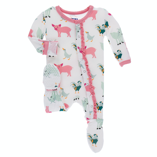 KICKEE PANTS PRINT MUFFIN RUFFLE FOOTIE WITH ZIPPER IN NATURAL FARM ANIMALS