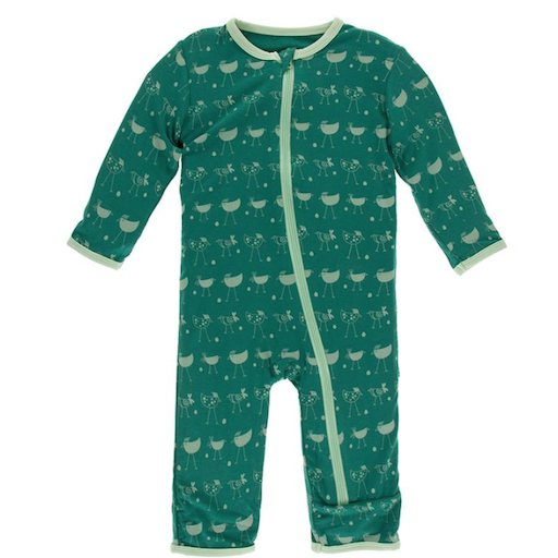 KICKEE PANTS PRINT COVERALL WITH ZIPPER IN IVY CHICKENS