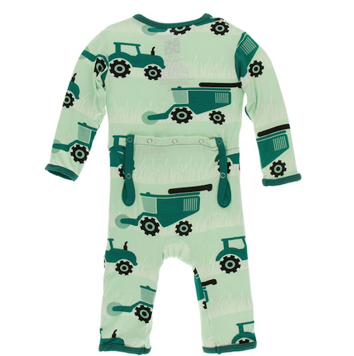 KICKEE PANTS PRINT COVERALL WITH ZIPPER IN PISTACHIO TRACTORS AND WHEAT