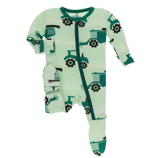 KICKEE PANTS PRINT FOOTIE WITH ZIPPER IN PISTACHIO TRACTORS AND WHEAT
