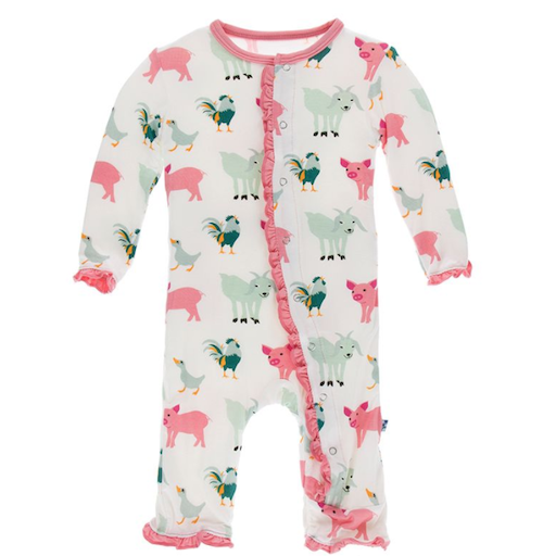 KICKEE PANTS PRINT MUFFIN RUFFLE COVERALL WITH ZIPPER IN NATURAL FARM ANIMALS