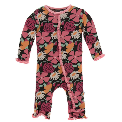 KICKEE PANTS PRINT MUFFIN RUFFLE COVERALL WITH ZIPPER IN ZEBRA MARKET FLOWERS