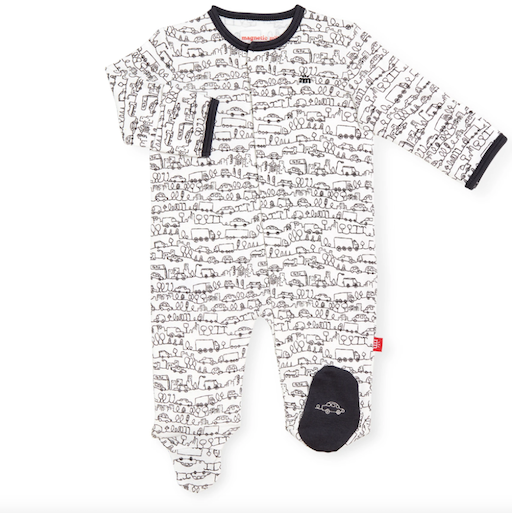 MAGNIFICENT BABY GOING PLACES ORGANIC COTTON MAGNETIC FOOTIE