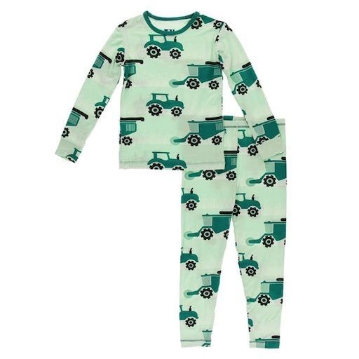 KICKEE PANTS PRINT LONG SLEEVE PAJAMA SET IN PISTACHIO TRACTOR