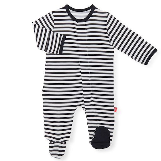 MAGNIFICENT BABY RAISE THE WOOF STRIPED MODAL MAGNETIC FOOTIE