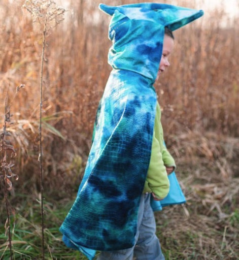 PTERODACTYL HOODED CAPE BLUE