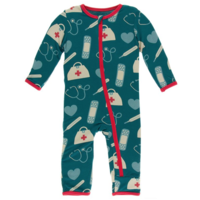 KICKEE PANTS PRINT COVERALL WITH ZIPPER IN OASIS MEDICINE