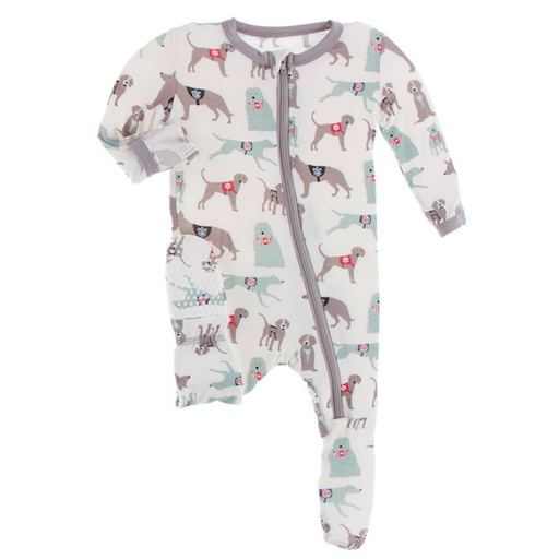 KICKEE PANTS PRINT FOOTIE WITH ZIPPER IN NATURAL CANINE FIRST RESPONDERS