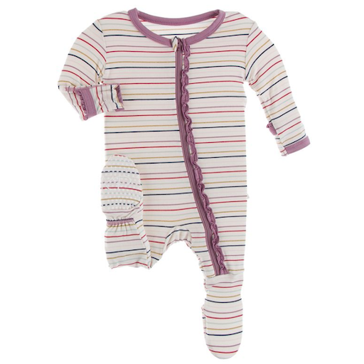 KICKEE PANTS PRINT MUFFIN RUFFLE FOOTIE WITH ZIPPER IN EVERDAY HEROES MULTI STRIPE