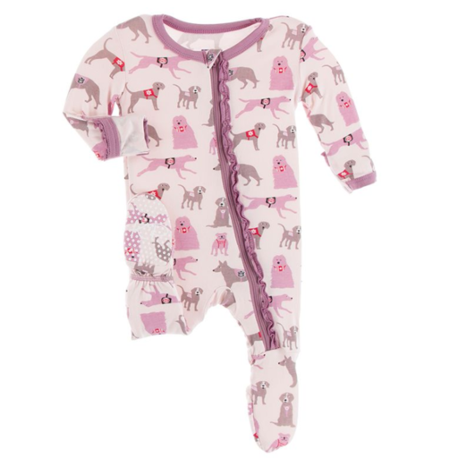KICKEE PANTS PRINT MUFFIN RUFFLE FOOTIE WITH ZIPPER IN MACAROON CANINE FIRST RESPONDERS