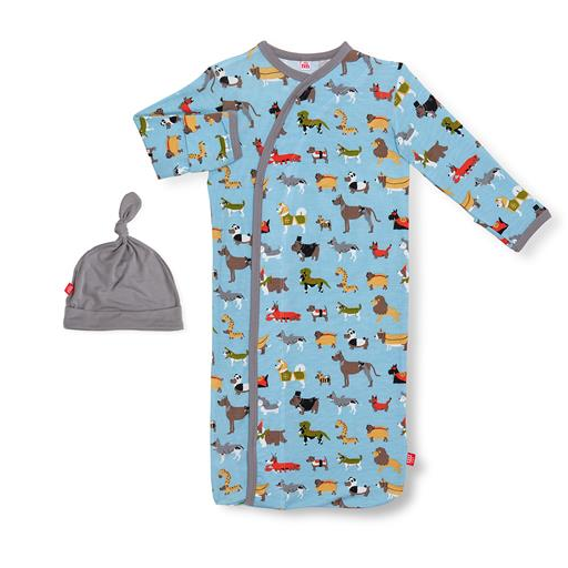 MAGNIFICENT BABY IN-DOG-NITO MODAL MAGNETIC GOWN & HAT SET