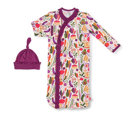 MAGNIFICENT BABY HOME GROWN MODAL MAGNETIC GOWN & HAT SET