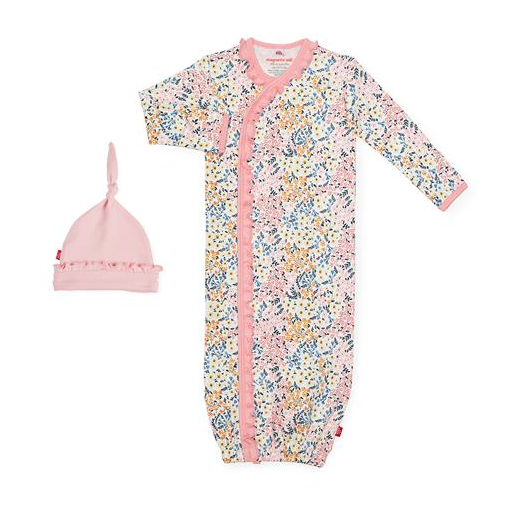 MAGNIFICENT BABY CHELSEA ORGANIC COTTON MAGNETIC GOWN AND HAT