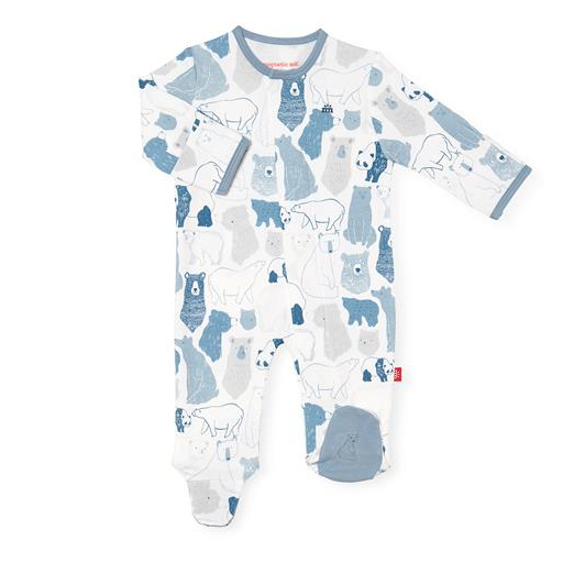 MAGNIFICENT BABY UNBEARABLY CUTE ORGANIC COTTON MAGNETIC FOOTIE