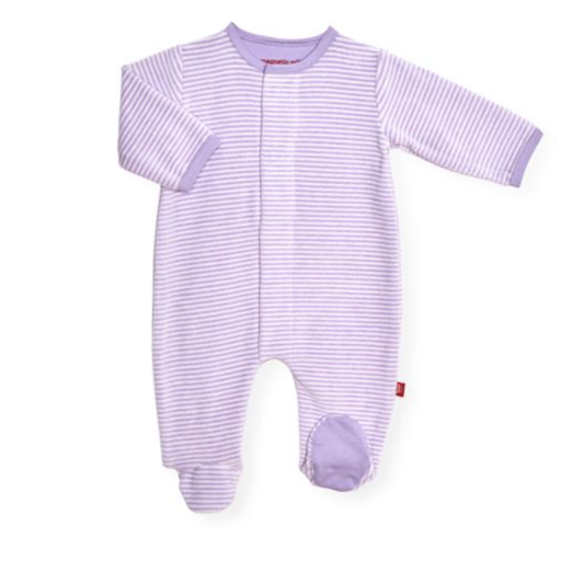 MAGNIFICENT BABY ORCHID-CREAM VELOUR MAGNETIC FOOTIE