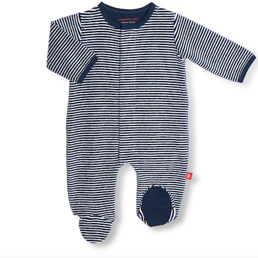 MAGNIFICENT BABY BLUE STRIPE VELOUR MAGNETIC FOOTIE