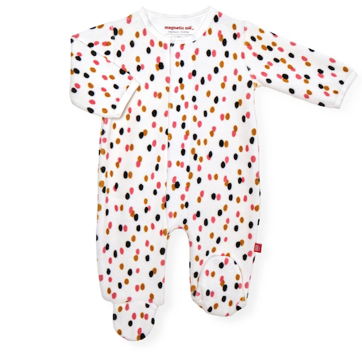MAGNIFICENT BABY CONFETTI VELOUR MAGNETIC FOOTIE
