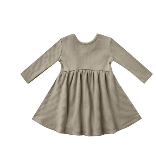 QUINCY MAE ORGANIC RIBBED LONGSLEEVE DRESS