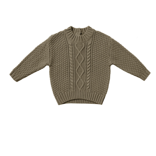 QUINCY MAE ORGANIC CABLE KNIT SWEATER