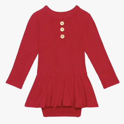 POSH PEANUT RIBBED LONG SLEEVE HENLEY WITH TWIRL SKIRT BODYSUIT