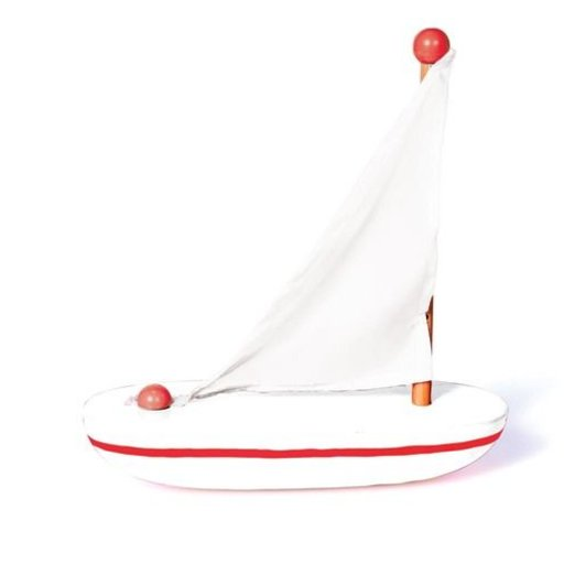 JACK RABBIT CREATIONS WHITE WOODEN SAIL BOAT
