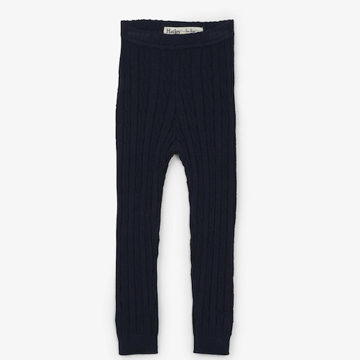 HATLEY NAVY CABLE KNIT BABY LEGGING