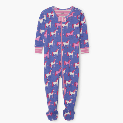HATLEY HEARTS AND HORSES ORGANIC COTTON FOOTED COVERALL