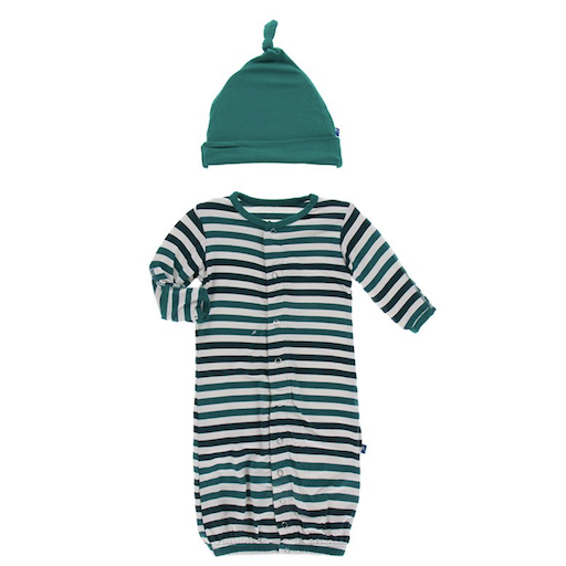 KICKEE PANTS PRINT LAYETTE GOWN CONVERTER & SINGLE KNOT HAT SET IN WILDLIFE STRIPE