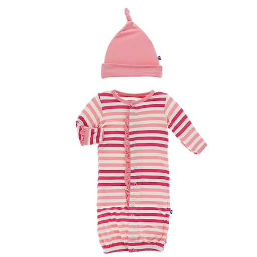 KICKEE PANTS PRINT RUFFLE LAYETTE GOWN CONVERTER & SINGLE KNOT HAT SET IN FOREST FRUIT STRIPE