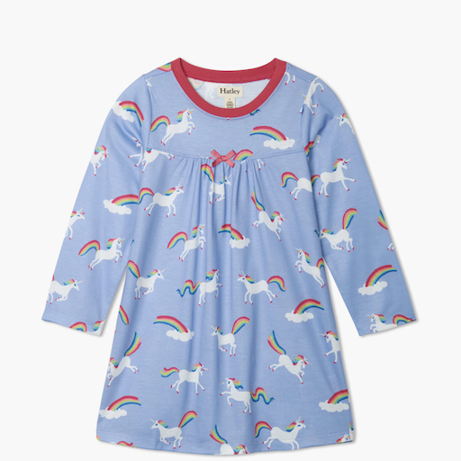 HATLEY RAINBOW UNICORNLONG SLEEVE NIGHTDRESS
