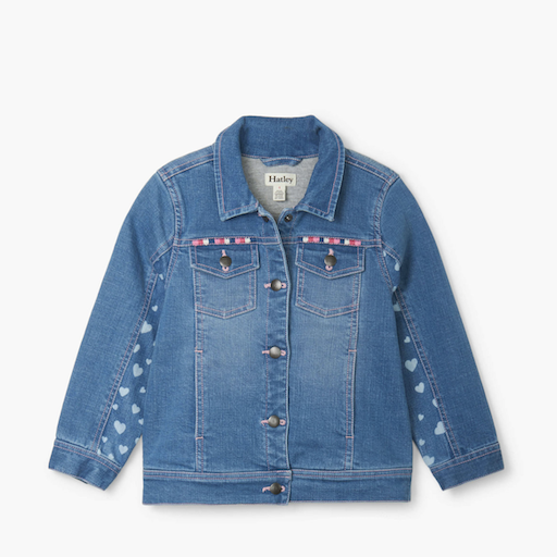 HATLEY HEART CLUSTER TERRY LINED DENIM JACKET