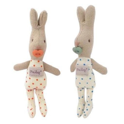 MAILEG B/G TWIN RABBITS IN METAL SUITCASE