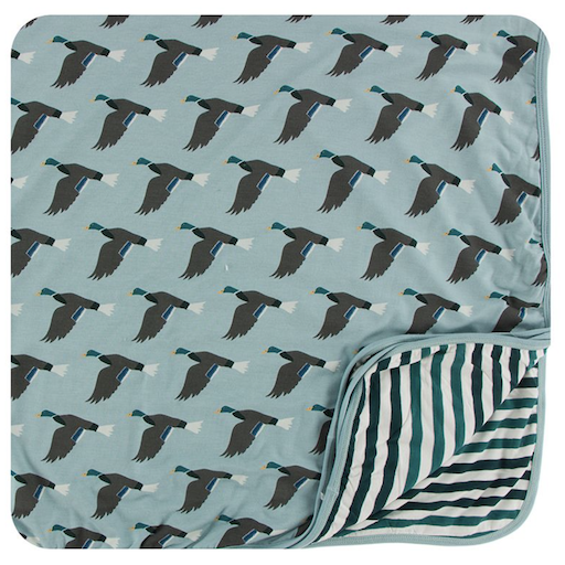 KICKEE PANTS PRINT TODDLER BLANKET IN JADE MALLARD DUCK