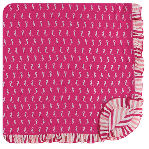 KICKEE PANTS PRINT TODDLER BLANKET IN PRICKLY PEAR SEA HORSES
