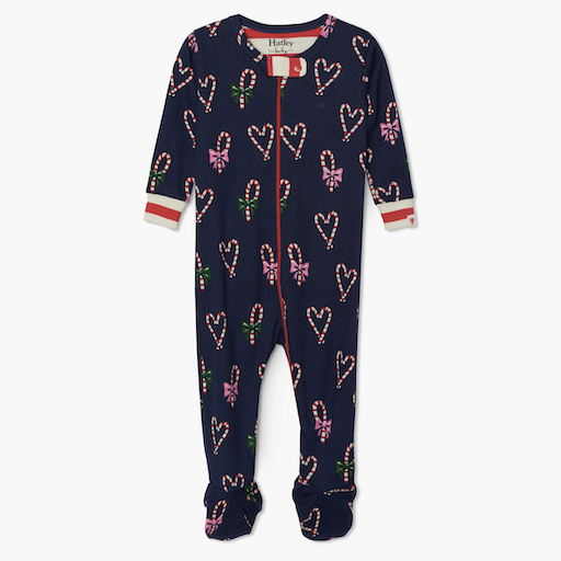 HATLEY CANDY CANE HEARTS ORGANIC FOOTED COVERALL