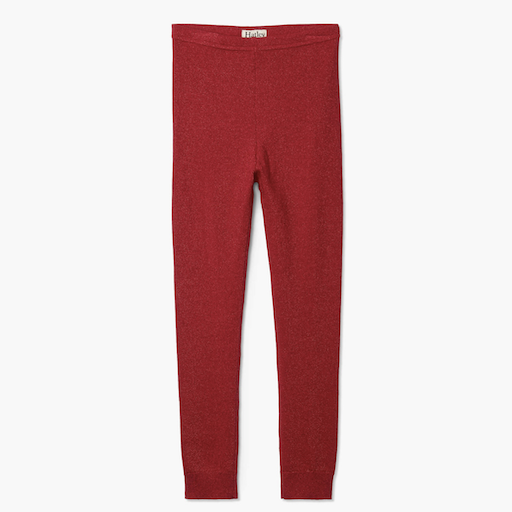 HATLEY RED SHIMMER CABLE KNIT LEGGINGS